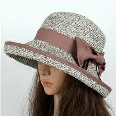 Chapéus de sol do moda Womens ráfia Bowknot curto Brim