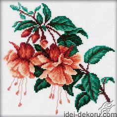 Fuchsia II - cross stitch kit, manufactured by RTO. Cross Stitch Kits, Cross Stitch Charts, Cross Stitch Designs, Cross Stitch Patterns, Cross Stitching, Cross Stitch Embroidery, Cross Stitch Flowers, Crossover, Creations