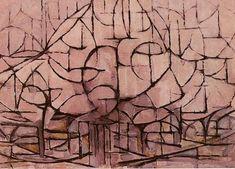 Check this: Piet Mondrian, Bloeiende bomen, Flowering trees, Domburg, Piet Mondrian, Critique D'art, Dutch Painters, Post Impressionism, Dutch Artists, Oil Painting Reproductions, Art Moderne, Monochrom, Art Abstrait