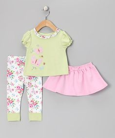 Take a look at this Green Floral Butterfly Tee Set - Infant & Toddler by Vitamins Baby on #zulily today!