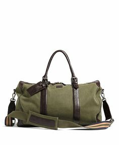 Washed Canvas and Leather Duffel - Brooks Brothers