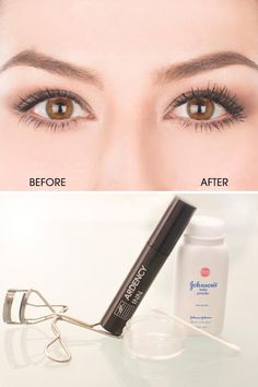 How to get thicker, longer-looking lashes by using baby powder #beauty #easy