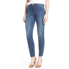 NYDJ 'Clarissa' High Rise Stretch Skinny Ankle Jeans ($134) ❤ liked on Polyvore featuring jeans, anderson, stretch jeans, denim skinny jeans, stretchy skinny jeans, high rise jeans and nydj jeans