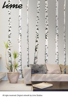 Birch Tree Wall Decal Forest 9ft Set of 5 trees  by LimeWallDecor