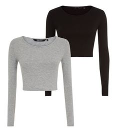 Teens 2 Pack Black and Grey Jersey Long Sleeve Crop Tops