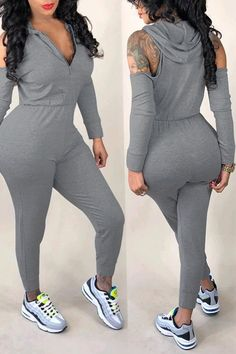 Shyfull Casual Hollowed-out Grey Jumpsuit Cute Lazy Outfits, Cute Swag Outfits, Sporty Outfits, Curvy Outfits, Hot Outfits, Classy Outfits, Trendy Outfits, Fashion Outfits, Mode Kpop