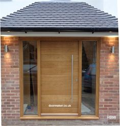 contemporary oak front door and sidelights - September 28 2019 at Front Door Canopy, Front Door Porch, Front Porch Design, House Front Door, House With Porch, Modern Entrance Door, Modern Front Door, House Entrance, Modern Exterior Doors