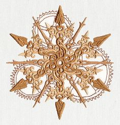 Winter Time Steampunk Snowflake Embroidered on White Cotton Towel or Quilt Block Square