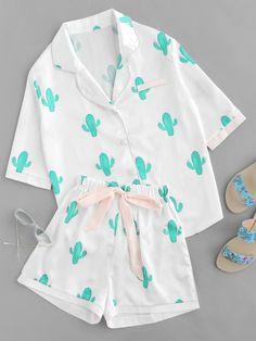 SheIn offers Cactus Print Tie Wai - Pajama Sets - Ideas of Pajama Sets - Shop Cactus Print Tie Waist Pajama Set online. SheIn offers Cactus Print Tie Waist Pajama Set & more to fit your fashionable needs. Cute Pajama Sets, Cute Pjs, Cute Lazy Outfits, Casual Outfits, Fashion Outfits, Harajuku Fashion, Fashion Sets, Women's Fashion, Cozy Pajamas
