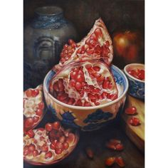 pomegranate still life oil painting ❤ liked on Polyvore featuring home, home decor, wall art, canvas wall art, oil painting, canvas oil paintings and canvas home decor