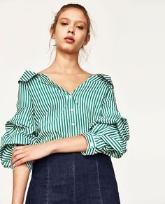 WIDE OPEN NECK SHIRT WITH PUFFY SLEEVES-NEW IN-WOMAN | ZARA United States