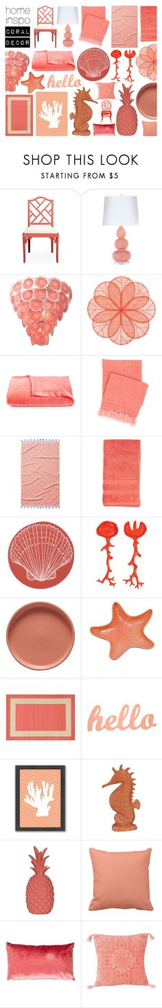 """home inspo: coral decor - 20170721"" by catharines-closet ❤ liked on Polyvore featuring interior, interiors, interior design, home, home decor, interior decorating, Worlds Away, Deborah Rhodes, Berkshire and Pine Cone Hill"