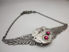Winged Steampunk Silver Watch Movement with 2 Red Swarovski Crystals on Silver Chain (Steampunk Jewelry By Steam Designs) - Steam Designs watch,  #dernierjay  #steampunk