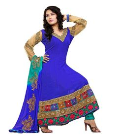 50% Off on Khazana Royal Blue Embroidered Unstitched Suit @1799