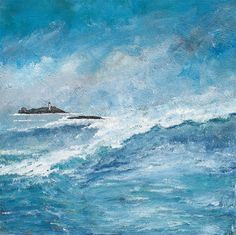 Godrevy's Lighthouse - Original Contemporary Acrylic Landscape Painting on Canvas by Diane Griffiths, art, Cornwall, seascape, lighthouse Canvas Painting Landscape, Seascape Paintings, Sea Waves, Handmade Art, Cornwall, Lighthouse, Wonderland, Group, Contemporary