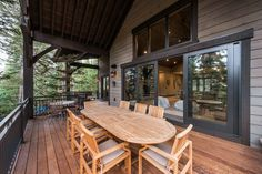 This mountain home, designed for and built in the Pine Mountain area of Kamas, Utah. Every effort was made to preserve the existing vegetation around the home, so the entry and presentation of the home is impeccably impressive. Entering the home, you will find high, vaulted ceilings,and an abundance of exposed-timber framing, creating an equally striking view on the interior. Large common areas, built-in bunk beds, and patio space make this home a perfect family retreat. #cabin #patio Custom Home Builders, Custom Homes, Bunk Beds Built In, Pine Mountain, Outdoor Tables, Outdoor Decor, Common Area, Construction, House Design