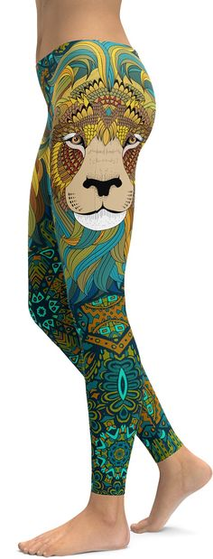 Prowl the streets like a stylish diva in these Lion Leggings featuring a stunning Lion's face decorated with graphic motifs in turquoise and yellow color scheme. Throwing a fabulous animal print into