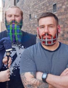 If the glitter beard wasn't quite your thing (we don't blame you. One 'fun' attempt at a glitter beard = finding flecks of glitter in your facial hair for all. Glitter Vans, Glitter Tip Nails, Crazy Beard, Beard Images, Glitter Beards, Beard Colour, Beard Humor, Awesome Beards, Rainbow Pride