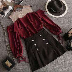 Wine Black Falbala Off-Shoulder Shirt/Skirt Set – SpreePicky Off Shoulder Shirt, Shoulder Sleeve, Suits For Sale, Shirt Skirt, Mini Skirts, Two Piece Skirt Set, Fashion Outfits, Rock, Sleeves