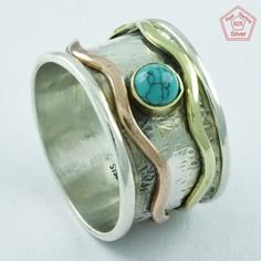 TURQUOISE RAVISHING DESIGN 925 STERLING SILVER SPINNER RING,R5012 #SilvexImagesIndiaPvtLtd #Spinner #AllOccasions