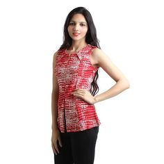Add a modern twist to your look with this beautiful red top. It has round neck with beautiful golden zip and cut in the bottom. Team it up with jeans or jegging for an elegant appeal.