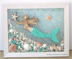 Excited to share this item from my shop: Mermaid Swimming Mermaid Mermaid Window Mermaid Art Mermaid Window Pane Resin Window Sea Glass Window Beach Art Glass Art Coastal Sea Glass Crafts, Sea Glass Art, Seashell Crafts, Stained Glass Art, Fused Glass, Clear Glass, Mermaid Crafts, Mermaid Art, Mermaid Wall Decor