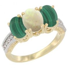 14K Yellow Gold Natural Opal Ring with Malachite 3-Stone 7x5 mm Oval Diamond Accent, sizes 5 - 10