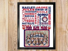 Cheerleading Gifts / Cheer coach gift / Personalized cheerleading team gifts /team photo gift / Cheerleader print / Team gifts