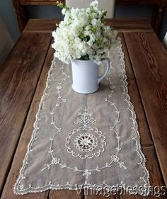 """Antique French Net Tambour Embroidered Runner 41"""" x 15"""" www.Vintageblessings.com"""