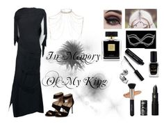 """""""In Memory Of My King"""" by unicornsgotstyle ❤ liked on Polyvore featuring Masquerade, Beauxoxo, Barry M, Bobbi Brown Cosmetics, Avon, Adrian, River Island, Lipstick Queen, Carvela and Concrete Minerals"""