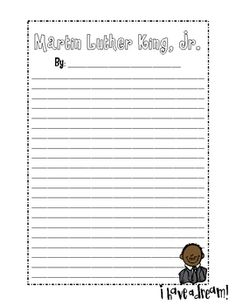 Martin Luther King Jr Writing Template Mlk Martin Luther King