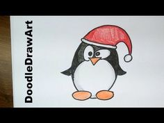 Drawing: How To Draw a Cute Cartoon Christmas Penguin Tux - Easy! Step by Step drawing lesson DoodleDrawArt