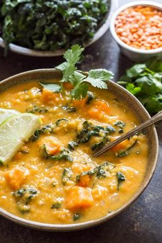 This Thai Red Curry Lentils Soup is a warm, comforting meal that comes together in about 30 minutes. It's full of flavor, hearty and filling, and budget-friendly. Perfect for soup season. Gluten Free Recipes For Lunch, Lunch Recipes, Whole Food Recipes, Soup Recipes, Vegetarian Recipes, Recipies, Dinner Recipes, Red Curry Lentils, Lentil Curry