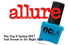"""03.22.17 // Allure: The Top 9 Spring 2017 Nail Trends to Try Right Now // Love seeing Chaka our teal blue cream nail lacquer featured in Allure's:  The Top 9 Spring 2017 Nail Trends to Try Right Now! """"Instead of picking up a pastel polish at the nail salon this spring — no shade, Essie Ballet Slippers — may we implore you to experiment? We looked to the spring 2017 runways for nail art and color inspiration. Here's the brightest blues, funkiest lines, and shimmeriest shades we could find.""""…"""