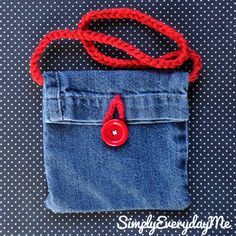 Up-cycle Blue Jean Mini Purse With Crochet Strap & Button Accent - Blue Jean/RedButton.
