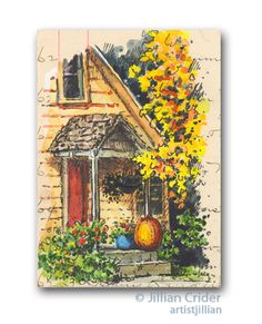 """Another of my 'garden' series ACEOs (2.5x3.5"""") - pen and wash (watercolor) on vintage handwritten (1887) ledger paper. This time it's a old porch with pumpkin and stunning autumn foliage. On eBay. http://www.ebay.com/itm/291288436445 artistjillian - Jillian Crider. Art journal, urban sketchbook style. Original."""