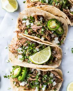 Easy Carnitas Recipe - Isabel Eats Easy Mexican Recipes - Seasoned with oregano, cumin, chili powder, lime juice, these Mexican Slow Cooker Pork Carnitas Taco - Pork Carnitas Tacos, Slow Cooker Pork Carnitas, Steak Tacos, Fish Tacos, Mexican Pulled Pork, Mexican Chicken, Comfort Food, The Fresh, Recipes