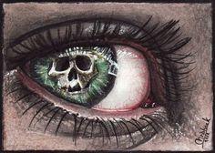 Stare death in the eye by acjub on DeviantArt Dark Fantasy Art, Dark Art, Alphabet Tag, Eyes Artwork, Aesthetic Eyes, Crazy Eyes, Skull Wallpaper, Magic Eyes, Arte Horror