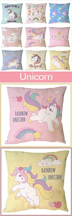 Unicorn Series Cotton Linen Soft Cushion Cover Decorative Throw Pillow Square Case