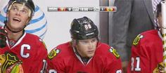 10/25/14: Jonny (and Hossa) congratulates Kaner on his 500th point
