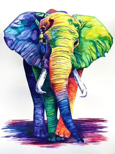 Watercolor elephant print by EricaBibeeArt on Etsy