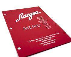 Меню с капси, червени страници и печат с бял цвят # Изработка: J Point+