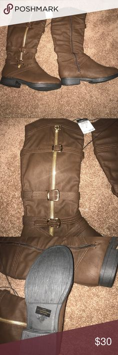 NWT Rue 21 Boots Rue 21 Boots- Brand new, never worn, great for fall/winter time! Size Large- would probably fit best to a 8.5, 9, 9.5. Let me know if you have any questions! Send me an offer (: Rue 21 Shoes Heeled Boots