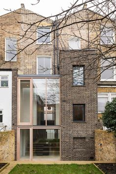 Gundry Ducker adds sooty brick and glass extension to London house Brick Extension, House Extension Design, Glass Extension, House Design, Rear Extension, Brick Architecture, Residential Architecture, Contemporary Architecture, Landscape Architecture