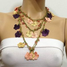 Plum Purple Salmon Pink and Yellow Crocheted Beaded by istanbuloya, $28.00