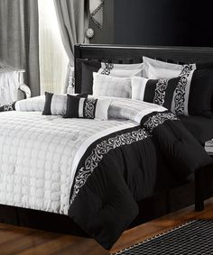 Take a look at this Black & Silver Avery Comforter Set by Chic Home Design on #zulily today!
