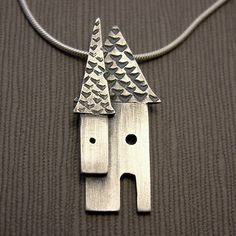 Silver House Necklace  statement jewelry by silverworkshop on Etsy, $95.00