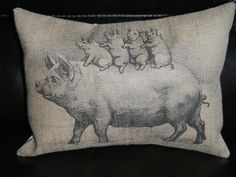 Vintage Pig with piglets Burlap Decorative Pillow Shabby Chic Cottage Decor Pigs This Little Piggy, Little Pigs, Pig Kitchen, Ring Pillows, Flying Pig, Shabby Chic Cottage, Decorative Pillows, Burlap, Piglets