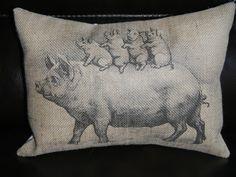 Vintage Pig with piglets Burlap Decorative by PolkadotApplePillows, $22.95 found on Etsy at Polkadotapplepillows