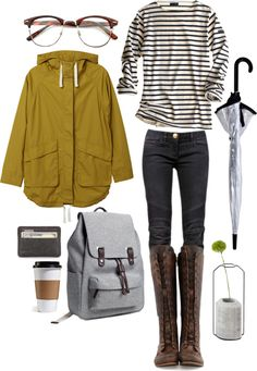 Monki Mustard Parka / Striped Shirt / Skinny Jeans / Knee High Boots / Everlane Backpack